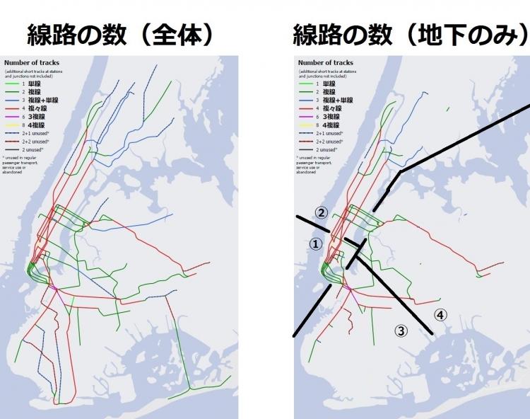 ニューヨークの地下鉄 線数