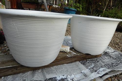 塗装後の植木鉢