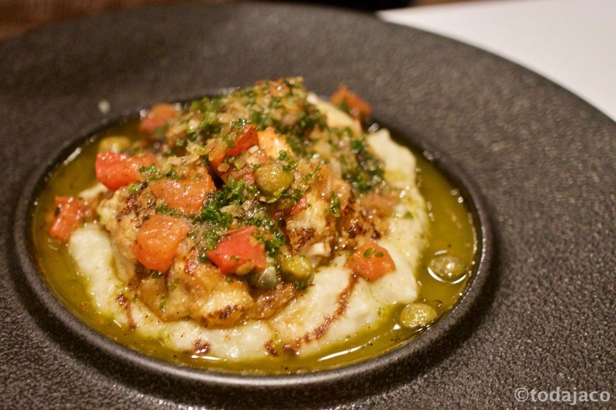 北海道産真鱈の白子のムニエル 根菜のピューレ、焦がしバターソース