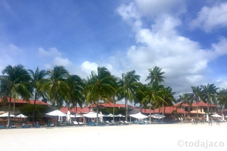 ビーチからホテルを眺める
