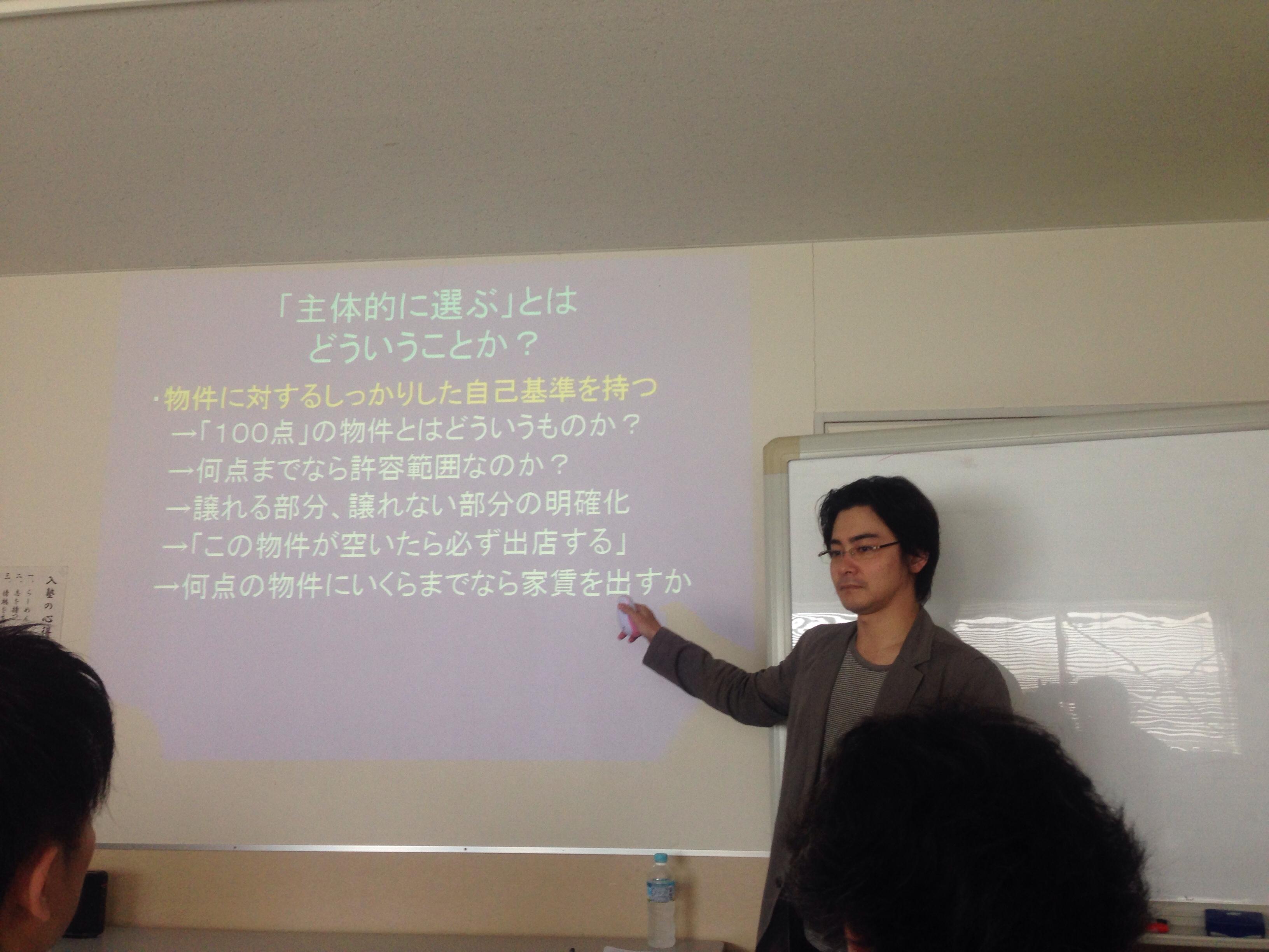 林原講師@大成食品株式会社開業支援塾鳥居式らーめん塾講義中
