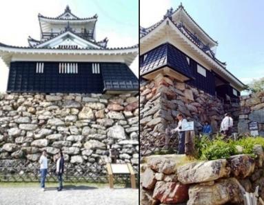 江戸時代400年を築いた徳川家康の出世城の前で嫁との記念写真を友人に撮ってもらった