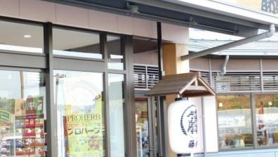 ドライブ旅行帰りの藤枝PAの店舗の藤枝宿駅の屋根でツバメの巣を発見した写真