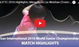 伊藤美誠VS劉煒珊 (団体決勝)世界ジュニア2016