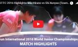 平野美宇VS石洵瑶 (団体決勝)世界ジュニア2016