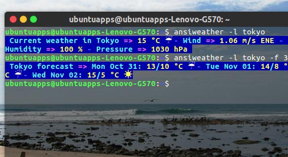 AnsiWeather Ubuntu 端末 天気 コマンド