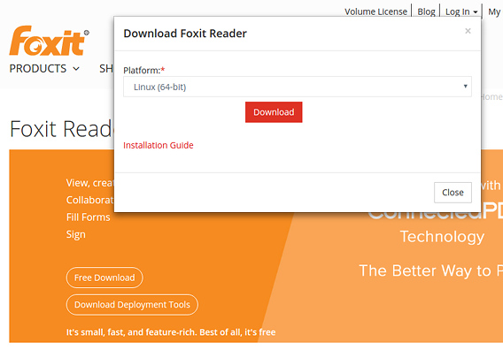 Foxit Reader Ubuntu 16.04 PDFリーダー ダウンロード
