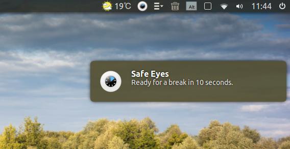 Safe Eyes Ubuntu タイマー 疲れ目 開始通知