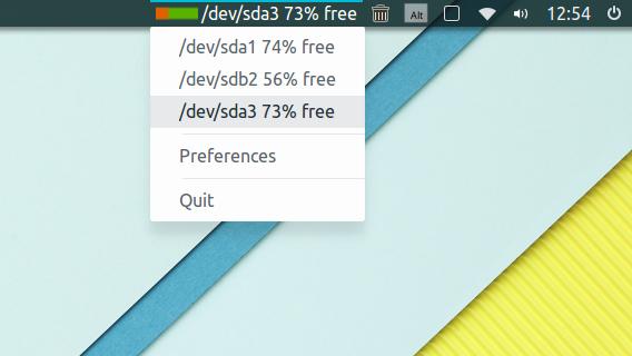SpaceView Ubuntu ディスクの空き容量 パネルインジケーター