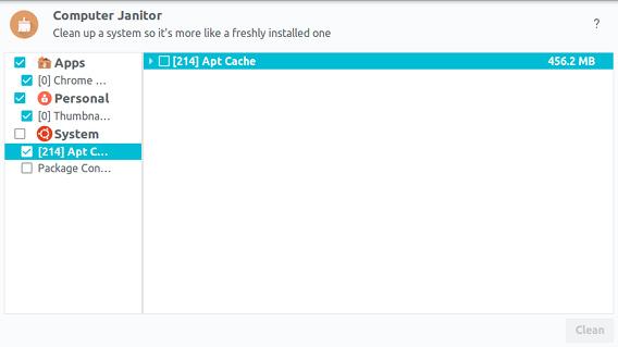 Ubuntu Cleaner ディスククリーナー キャッシュの削除完了