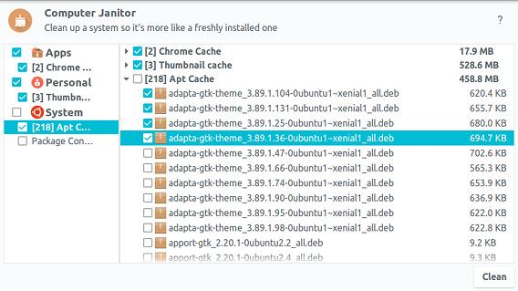 Ubuntu Cleaner ディスククリーナー 選択したキャッシュの削除
