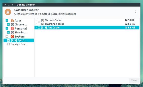 Ubuntu Cleaner ディスククリーナー