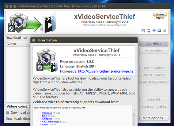 xVideoServiceThief (xVST) 2.5.2 Ubuntu 16.04 動画ダウンロード