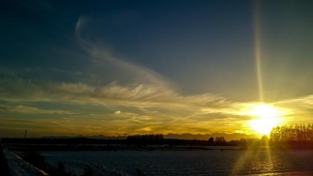 日高山脈の夕日