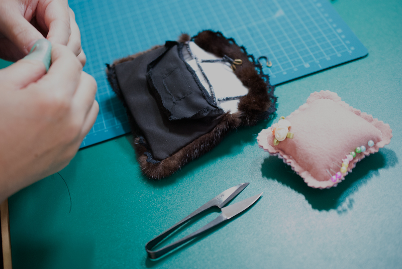 ミンク毛皮小物教室の様子~ロングコートチャーム製作2016121701