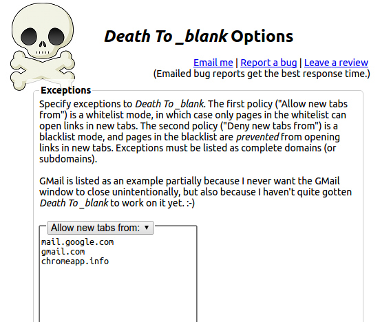 Death To _blank Chrome拡張 リンク 現在のタブで開く ホワイトリスト