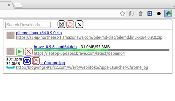 Download Manager Button Chrome拡張 ダウンロードマネージャ ポップアップ 進捗状況