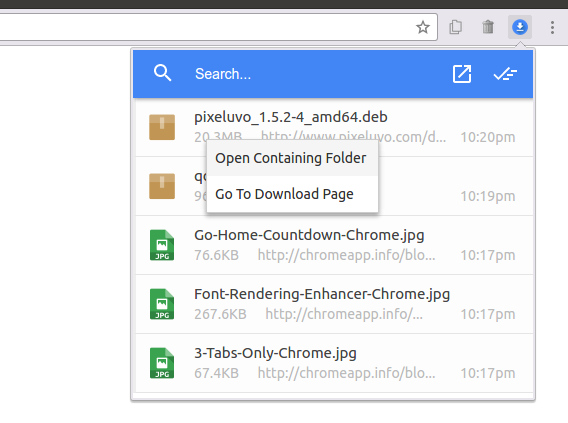 Material Design Download Manager Chrome拡張 ダウンロードマネージャ 右クリックメニュー