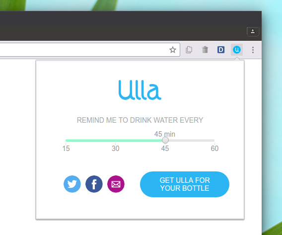 Ulla - Water Drinking Reminder Chrome拡張 定期的に水を飲む リマインダー