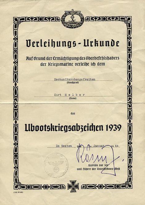 U-boots Kriegsabzeichen_urkunde