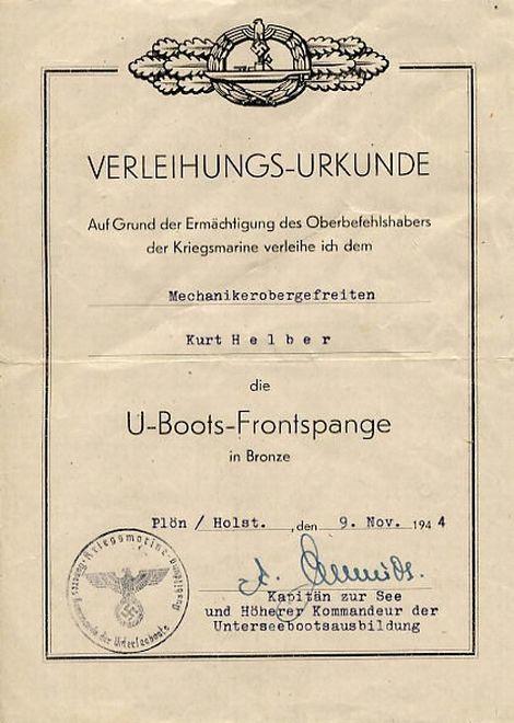 U-boots Frontspange_urkunde