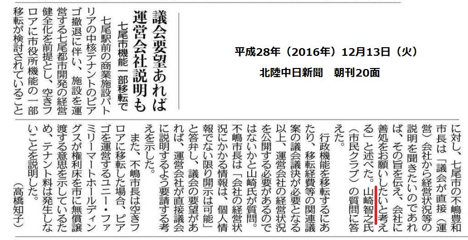 平成28年12月13日(火)北陸中日新聞 朝刊 20面