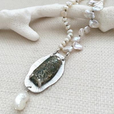 metalsmith emerald necklace