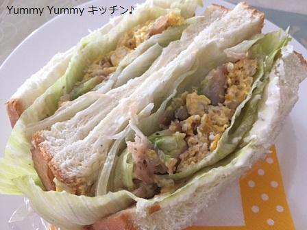 アボカドと生ハムのエッグサンドイッチ♪横2