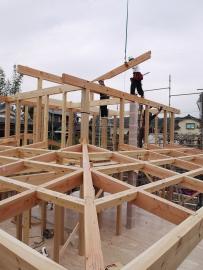 建て方1日目 屋根