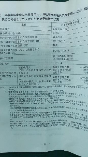 ベルシステム24新株予約権 (ストックオプション)②