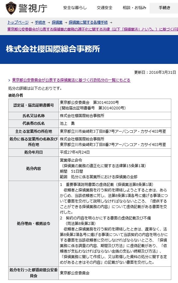 停止51日 株式会社櫻国際総合事務所