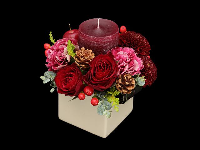 クリスマス アレンジ キャンドル 花 サプライズ キャンドル ロマンチック 花束