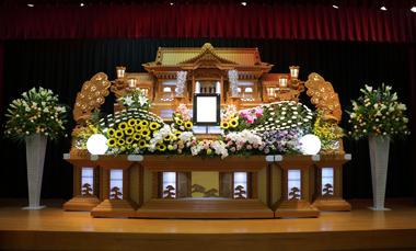 花祭壇 ひまわり やすらぎ会館 豊川 花屋 花夢
