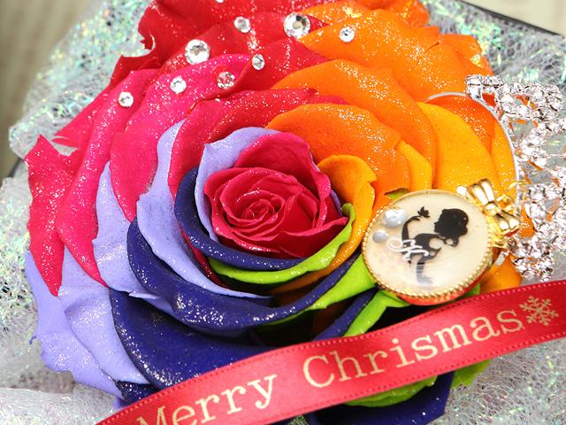クリスマス レインボーローズ 青 バラ プロポーズ 花束 サプライズ