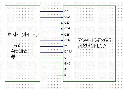 デジット6行LCD接続回路