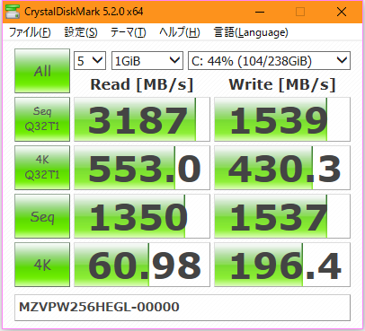 【CrystalDiskMark 5.2.0】SM961 MZVPW256HEGL-00000
