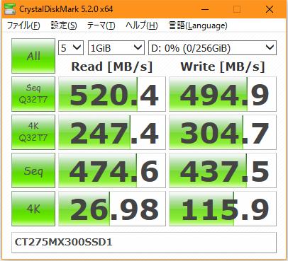 【CrystalDiskMark 5.2.0】MX300 CT275MX300SSD1