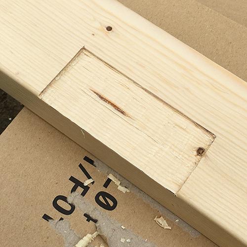 一人で作るブロック小屋⑬ ~蝶番・ノミ作業~⑧