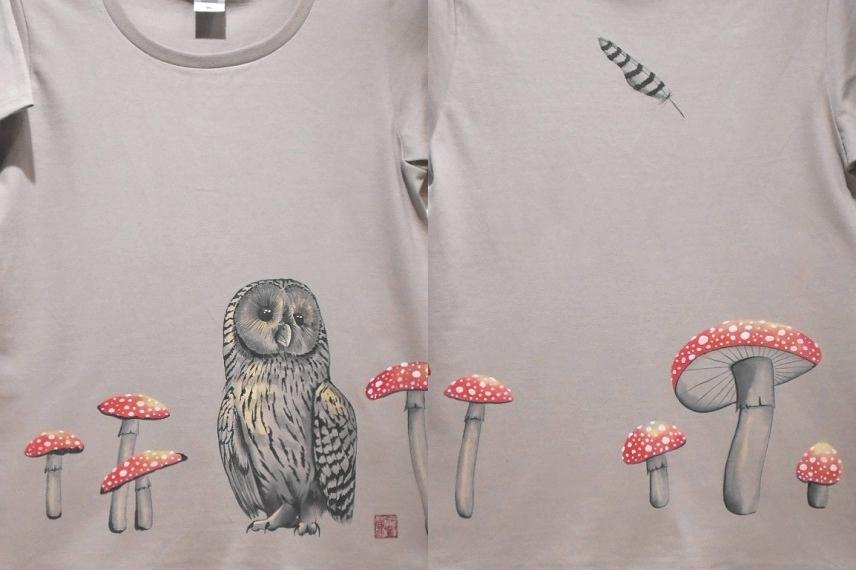 手描きTシャツ フクロウとベニテングタケ