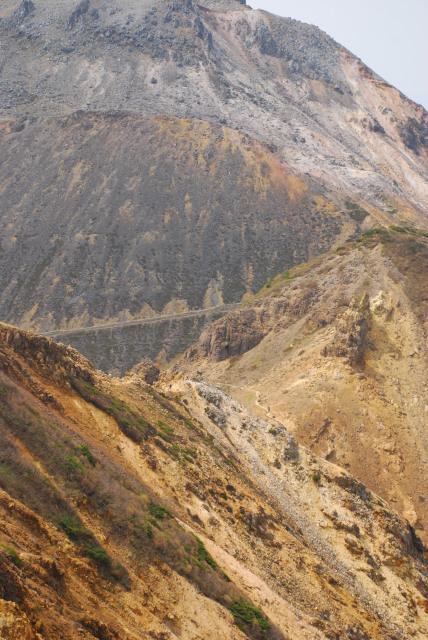 登山道の岩場の区間