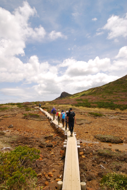 清水平の木道を列をなして歩く登山者_那須岳の縦走大会の参加者だった