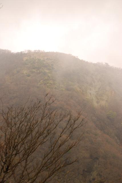 霧の向こうに霞むバカ尾根
