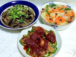 160429_3901茄子と挽肉炒め煮・八宝菜・肉詰めピーマンVGA
