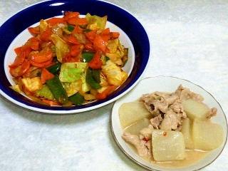 160510_3924キャベツと豚肉のコチュジャン炒め・大根と豚肉の白湯スープ煮VGA