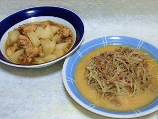 160628_4022鶏もも肉と大根の煮物・もやしのとんこつ醤油炒めVGA