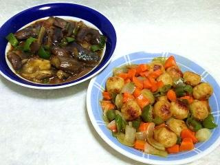 160708_4037茄子のピリ辛肉味噌炒め・鳥団子の甘酢炒めVGA