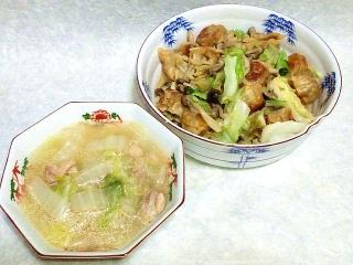 160708_4038キャベツとシウマイの炒めもの・白菜と鶏もも肉の白湯スープVGA