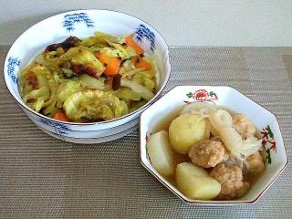 160916_4178野菜と餃子のカレー風味炒め・鶏団子のおでん風煮物VGA