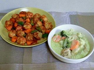 161007_4224鶏団子のケチャップ炒め・グリーンカレースープVGA