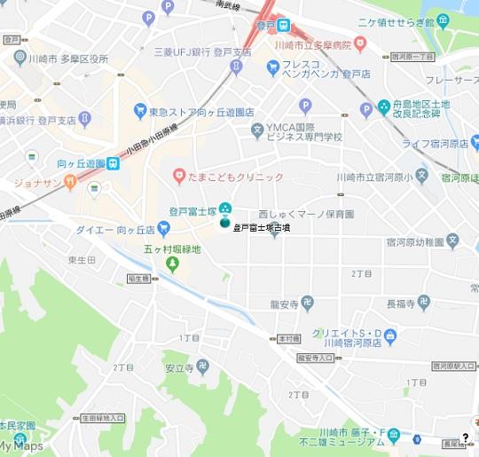 登戸富士塚古墳地図